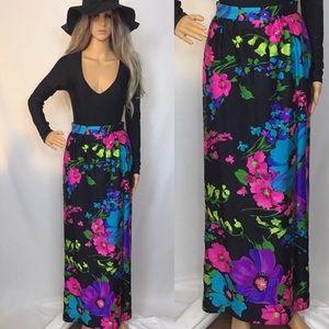 Vintage 60s 70s Black Floral Maxi Skirt